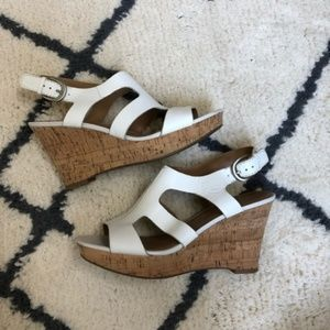 Franco Sarto White sandal cork wedges